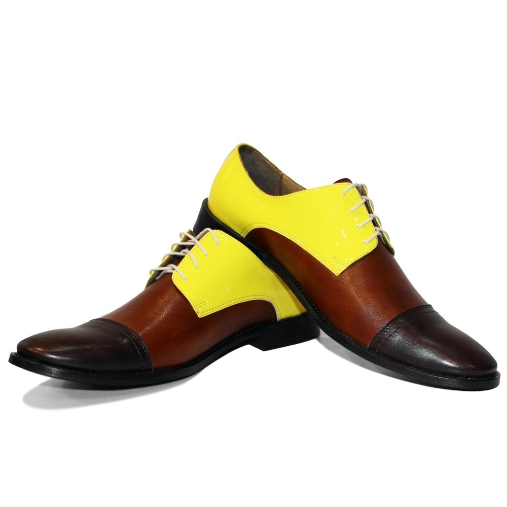 0734c72c82af1 Details about Modello Toto - Handmade Italian Yellow Oxfords Dress Shoes -  Cowhide Smooth Leat