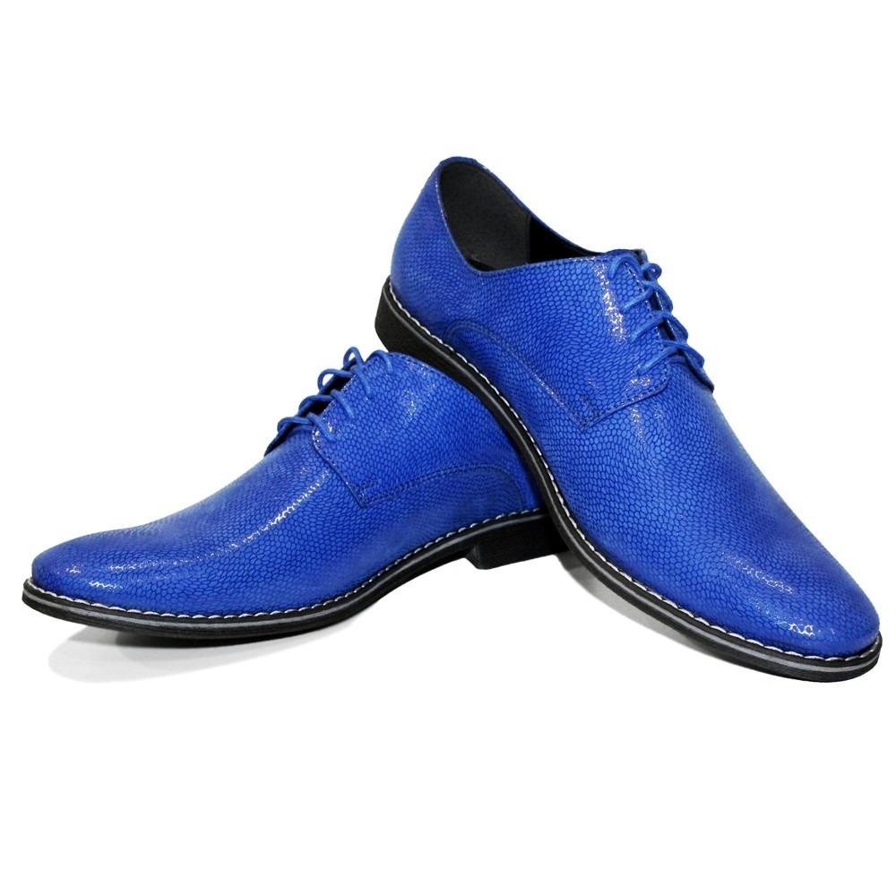 Modello Brusso - Handgemachtes Italienisch Blau Oxfords Abendschuhe Schnürhalbsc